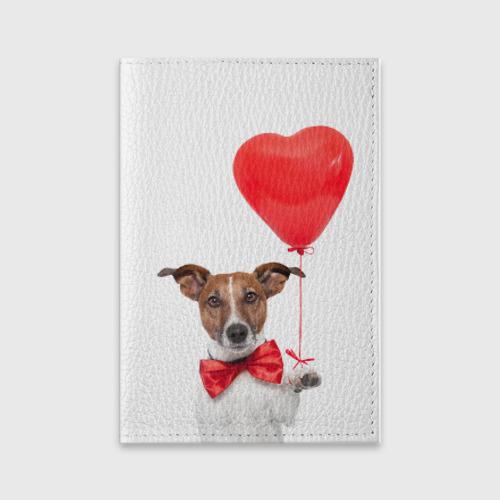 Обложка для паспорта матовая кожа  Фото 01, Собака с шариком