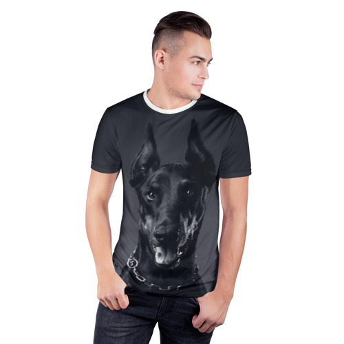 Мужская футболка 3D спортивная  Фото 03, Доберман