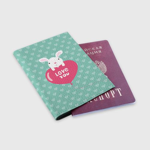 Обложка для паспорта матовая кожа  Фото 03, Влюбленный зайка