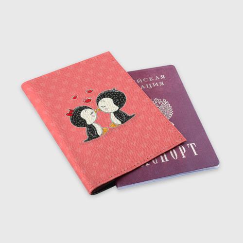 Обложка для паспорта матовая кожа  Фото 03, Влюбленные пингвины