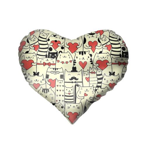 Подушка 3D сердце  Фото 02, Любящие котики