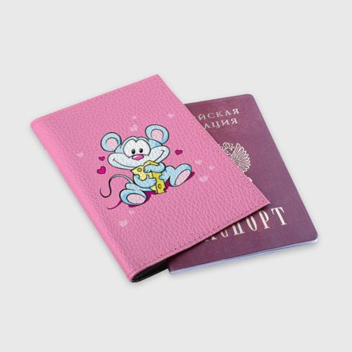 Обложка для паспорта матовая кожа  Фото 03, Мышка с сыром