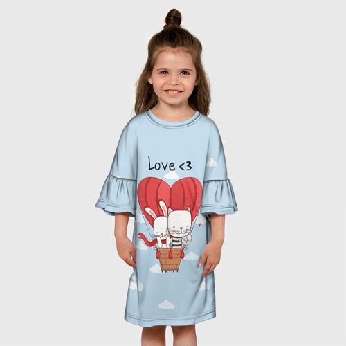 Детское платье 3D  Фото 01, Влюбленные на шаре