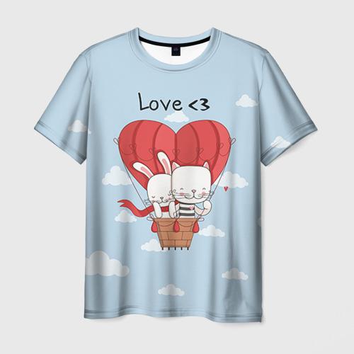 Мужская футболка 3D Влюбленные на шаре