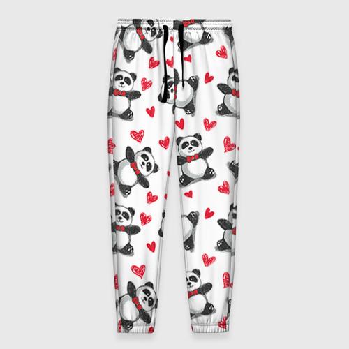 Мужские брюки 3D Панда и любовь Фото 01
