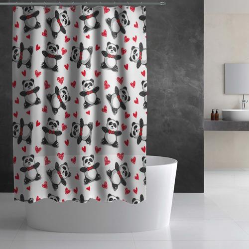 Штора 3D для ванной Панда и любовь Фото 01