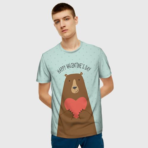 Мужская футболка 3D Медведь с сердцем Фото 01