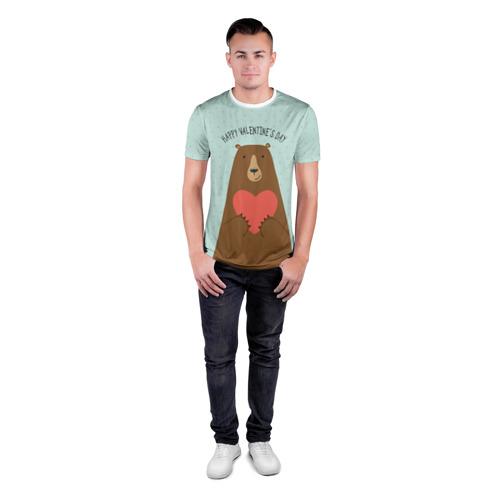 Мужская футболка 3D спортивная  Фото 04, Медведь с сердцем