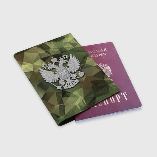 Обложка для паспорта матовая кожа  Фото 03, Камуфляж и герб