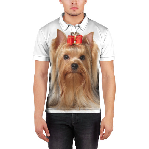 Мужская рубашка поло 3D  Фото 03,  Йоркширский терьер