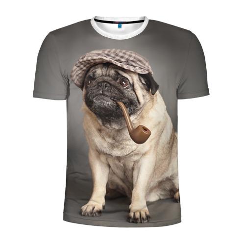 Мужская футболка 3D спортивная  Фото 01, Мопс в кепке