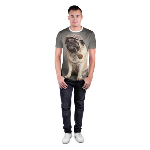 Мужская футболка 3D спортивная  Фото 04, Мопс в кепке