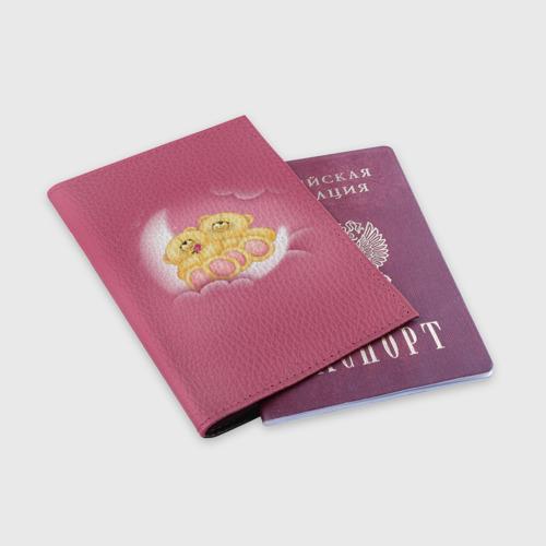 Обложка для паспорта матовая кожа  Фото 03, Мишки в облаках