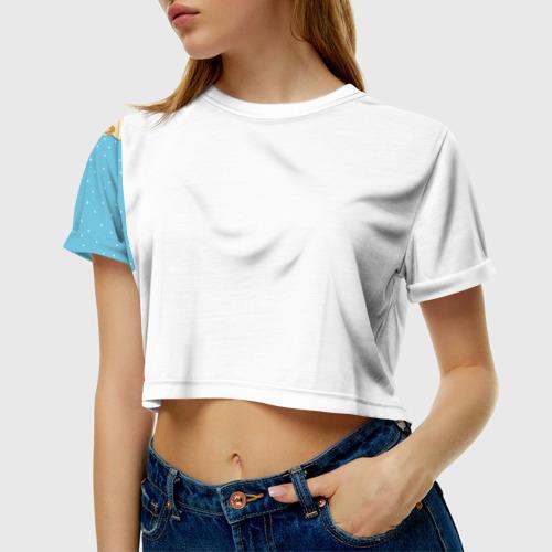 Женская футболка 3D укороченная Медведики