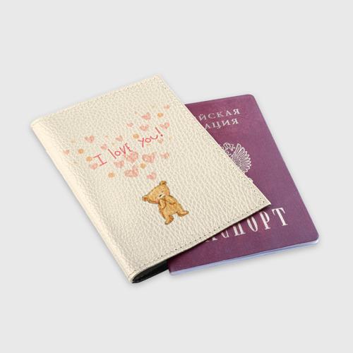 Обложка для паспорта матовая кожа  Фото 03, Медвежонок с сердечками