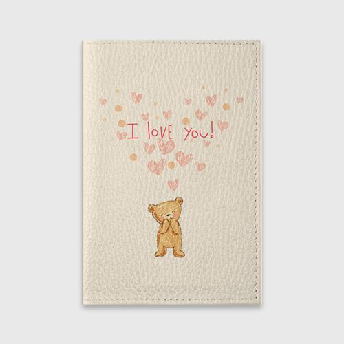 Обложка для паспорта матовая кожа  Фото 01, Медвежонок с сердечками