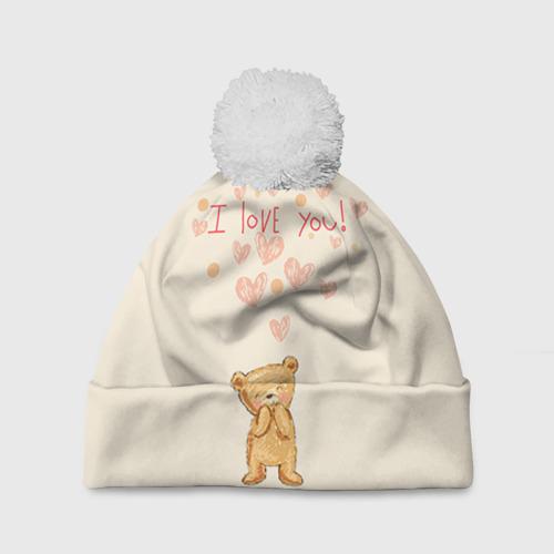 Шапка 3D c помпоном  Фото 01, Медвежонок с сердечками
