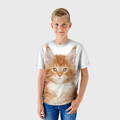 Детская футболка 3D Рыжий котенок
