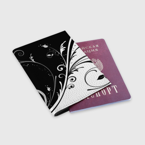 Обложка для паспорта матовая кожа Завитки Фото 01