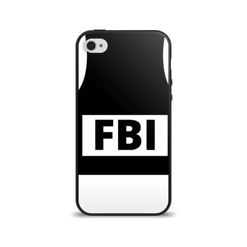 Чехол для Apple iPhone 4/4S силиконовый глянцевый Бронежилет ФБР (FBI)