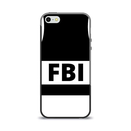 Чехол для Apple iPhone 5/5S силиконовый глянцевый Бронежилет ФБР (FBI) от Всемайки