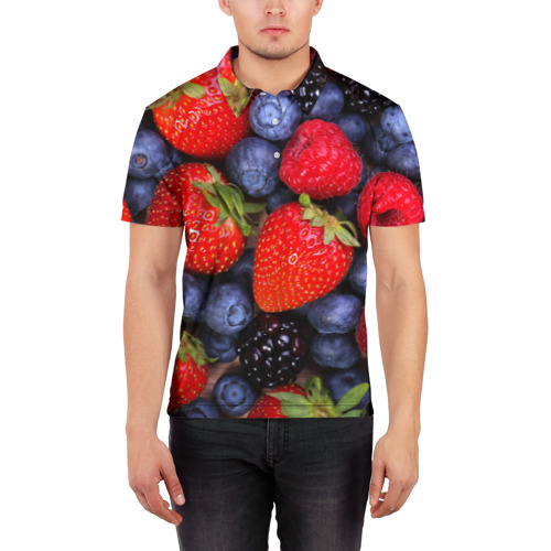 Мужская рубашка поло 3D Berries Фото 01