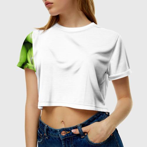 Женская футболка 3D укороченная  Фото 01, Яблочная
