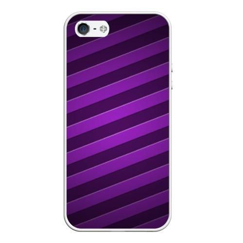 Чехол силиконовый для Телефон Apple iPhone 5/5S Фиолетовые полосы