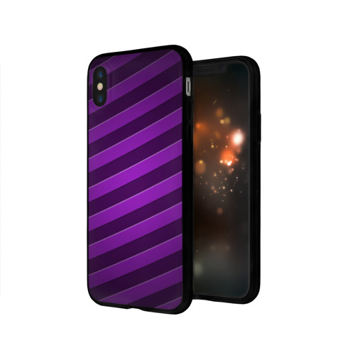 Чехол для Apple iPhone X силиконовый глянцевый Фиолетовые полосы Фото 01
