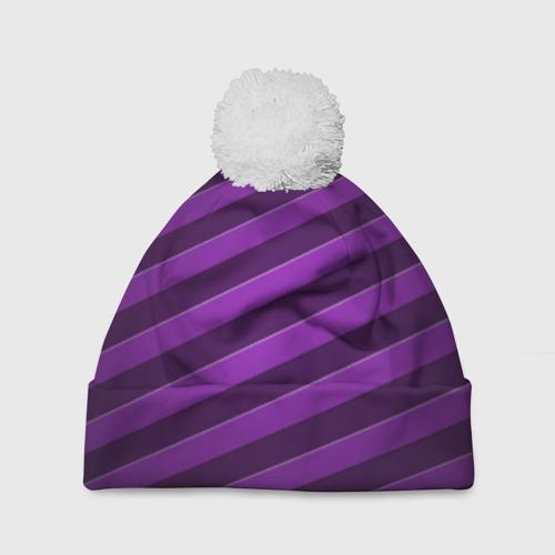 Шапка 3D c помпоном Фиолетовые полосы