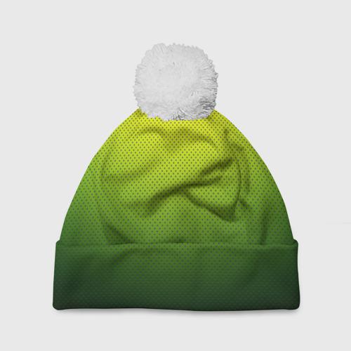 Шапка 3D c помпоном  Фото 01, Зелёная текстура