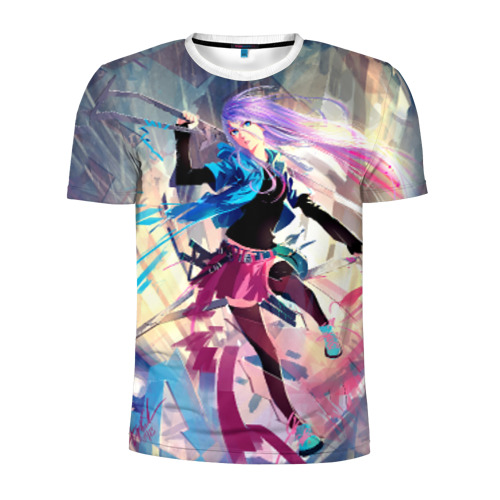 Мужская футболка 3D спортивная  Фото 01, Девушка с мечом