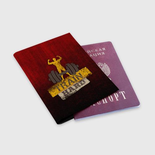 Обложка для паспорта матовая кожа  Фото 03, Train hard