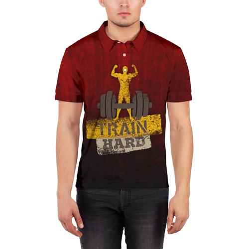 Мужская рубашка поло 3D  Фото 03, Train hard