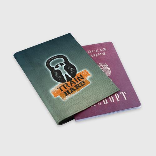Обложка для паспорта матовая кожа  Фото 03, Train hard 2