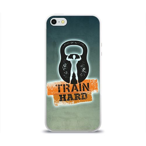Чехол для Apple iPhone 5/5S силиконовый глянцевый  Фото 01, Train hard 2