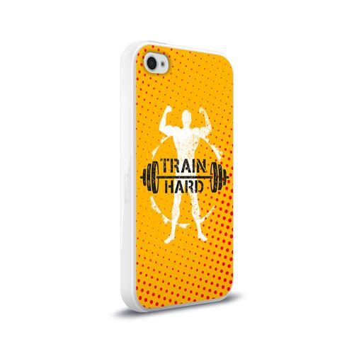 Чехол для Apple iPhone 4/4S силиконовый глянцевый  Фото 02, Train hard 3