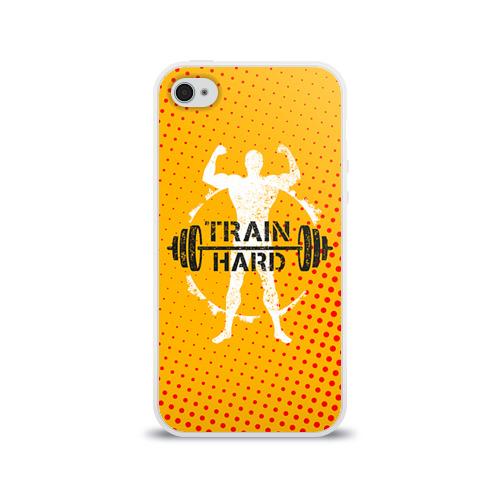 Чехол для Apple iPhone 4/4S силиконовый глянцевый  Фото 01, Train hard 3