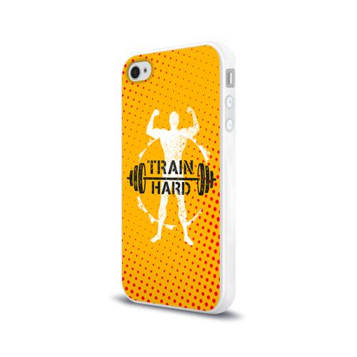 Чехол для Apple iPhone 4/4S силиконовый глянцевый  Фото 03, Train hard 3