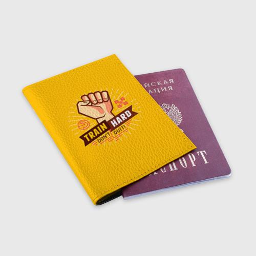 Обложка для паспорта матовая кожа  Фото 03, Train hard 6
