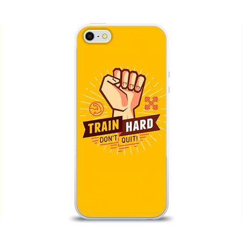 Чехол для Apple iPhone 5/5S силиконовый глянцевый  Фото 01, Train hard 6