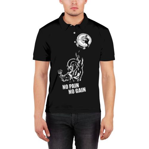 Мужская рубашка поло 3D  Фото 03, No pain no gain