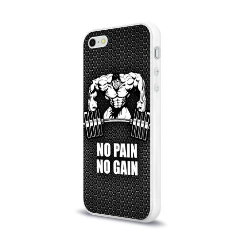 Чехол для Apple iPhone 5/5S силиконовый глянцевый  Фото 03, No pain no gain 2
