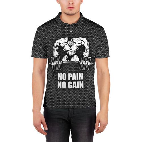Мужская рубашка поло 3D  Фото 03, No pain no gain 2