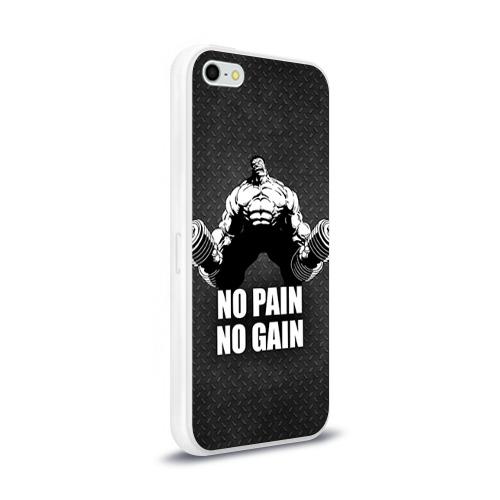 Чехол для Apple iPhone 5/5S силиконовый глянцевый  Фото 02, No pain no gain 3
