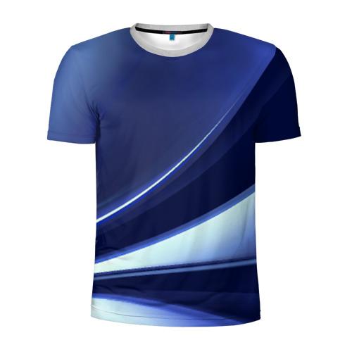 Мужская футболка 3D спортивная Синие линии