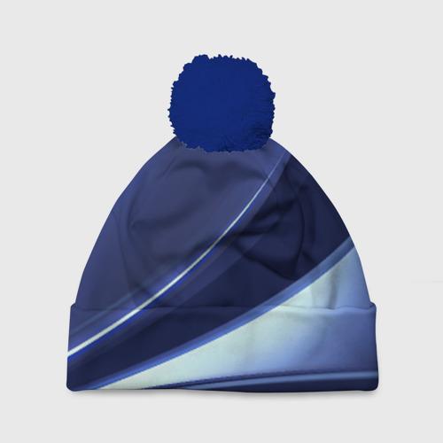 Шапка 3D c помпоном Синие линии