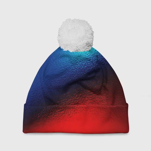 Шапка 3D c помпоном  Фото 01, Цветовой переход красный