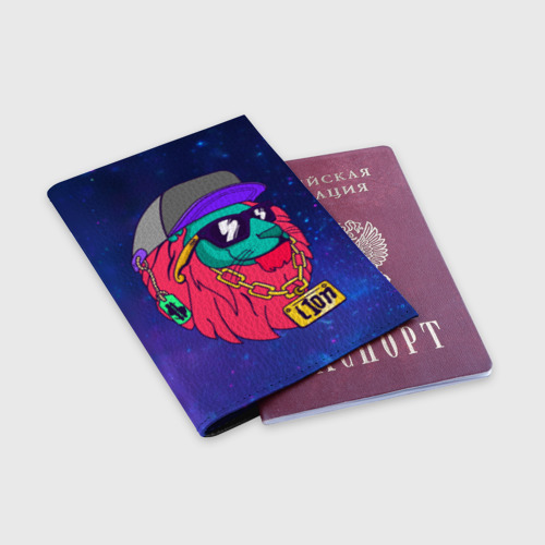 Обложка для паспорта матовая кожа  Фото 03, Лев SWAG