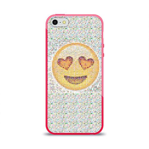 Чехол для Apple iPhone 5/5S силиконовый глянцевый Смайлики